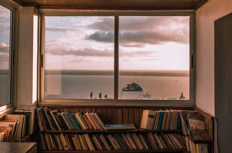 Foto von Blick aufs Meer über Bücherregal hinweg